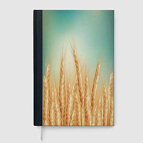 (Thick Notebook/Journal,Harvest,Wheat Field and Blue Sky Agriculture Themed Abstract Composition,96 Ruled Sheets,B5/7.99x10.02 in)