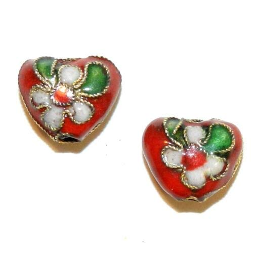 CL171 Red 12mm Flat Puffed Heart w Gold Metal Handmade Cloisonne Beads 10pc Crafting Key Chain Bracelet Necklace Jewelry Accessories Pendants (Charm Heart 12mm Puffed)