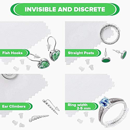 Ring Size Adjuster and Silicone Earing Backs Life Style Guard for Loose Rings Sizer Soft Clear Silicone Replacements Jewelry Spacer Rubber Secure Backings Combo Set with Polishing Cloth