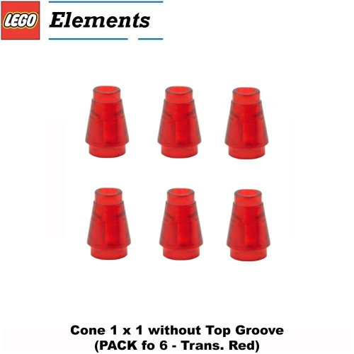 Lego Parts: Cone 1 x 1 without Top Groove (PACK of 6 - Transparent Red) (Lego Jedi Starfighter And Vulture Droid)