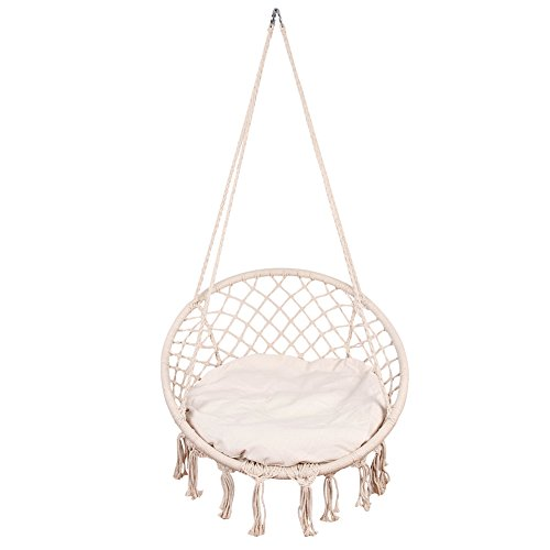 andwoven Cotton Rope Hammock Chair Macrame Swing with Cushion and Wall/Ceiling Mount, 300 Pounds Capacity, for Indoor, Garden, Patio, Yard (Natural) (Anchor 300 Pounds)