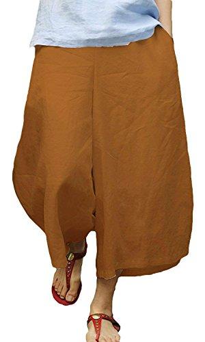 (Ecupper Ladies Linen Wide Leg Cropped Culottes Loose High Waist Lounge Pants Caramel XL)