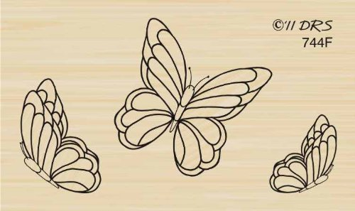Three Butterflies Rubber Stamp By DRS Designs