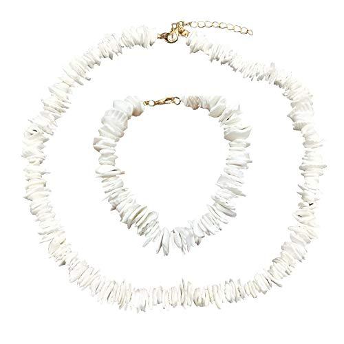 (suonabeier Women White Natural Puka Shell Necklace Clam Chips Shells Handmade Hawaii Beach Choker Necklace)