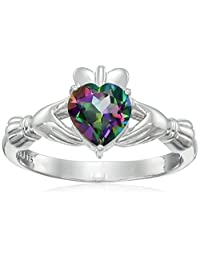 Rhodium Plated Sterling Silver Heart Shaped Mystic Fire Topaz 7mm Claddagh Ring, Size 8