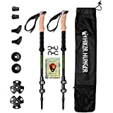 Hiker Hunger 100% Carbon Fiber Trekking Pole 2.0 Ultralight Weight, Collapsible, Durable Metal Screw Flip Lock and Newly Designed Carry Bag Zip Pocket for Accessories | USA Based Outdoor Brand