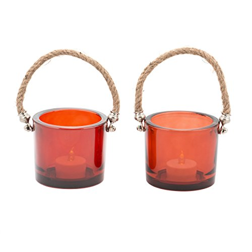 Pfaltzgraff 3-Inch Coral Glass Lantern Rope Handle, Set of 2 (Coral Colored Candles)