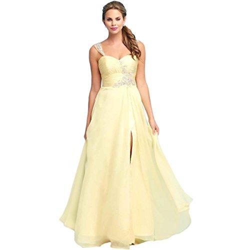 Mac Duggal Womens Chiffon Embellished Formal Dress Yellow 4 Our