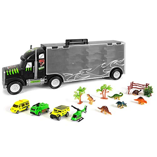 Sikye Big Size Transporter Car Dinosaur Transport Carrier 16-Piece Includes 6 Dinosaurs, 3 Cars, 3 Fences, 2 Trees, 1 Bush, and 1 Helicopter by Sikye (Image #5)