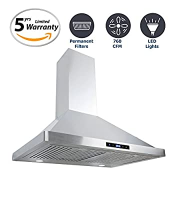 Cosmo 30 in. 380 CFM Ducted Wall Mount Range Hood, LCD Display Touch Control Panel Wall Mounted Kitchen Vent Cooking Fan Range Hood with Permanent Filters and LED Lighting