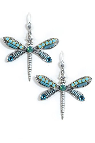 Clara Beau Turq Medium DragonFly Swarovski crystal SilverTone Dangle Earrings (Homemade Insect Costumes)