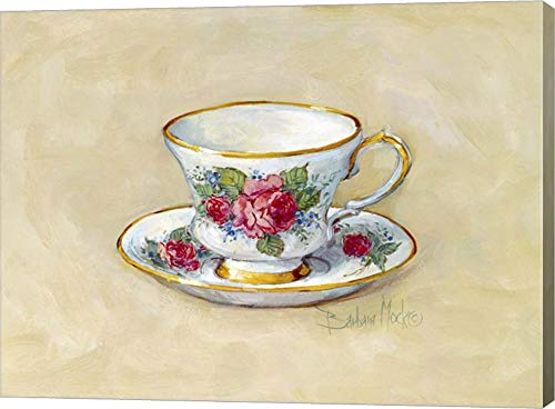 Rose Teacup by Barbara Mock Canvas Art Wall Picture, Gallery Wrap, 11 x 8 inches