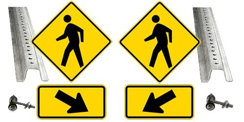 Pedestrian Crosswalk Kit: (2) Ped Signs (2) Arrow Signs (2) Posts (4) Pairs Mounting Hardware
