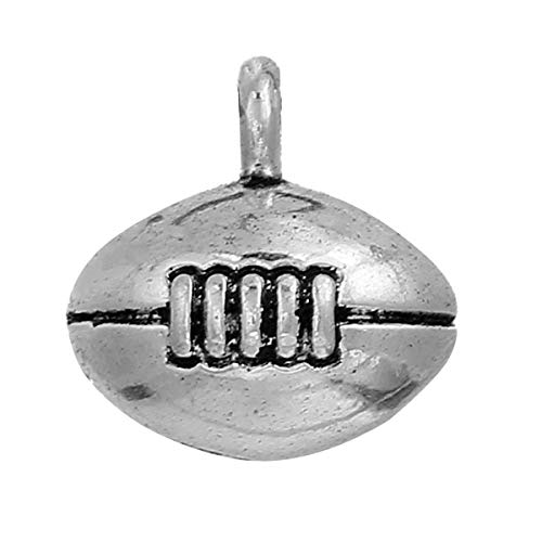 PEPPERLONELY 10pc Antiqued Silver Alloy 3D Football Charms Pendants 13x13mm (4/8