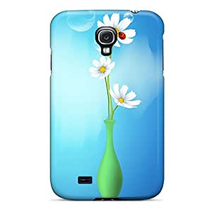 FQl9000Mhek Tpu Phone Case With Fashionable Look For Galaxy S4 - Ladybug Flower