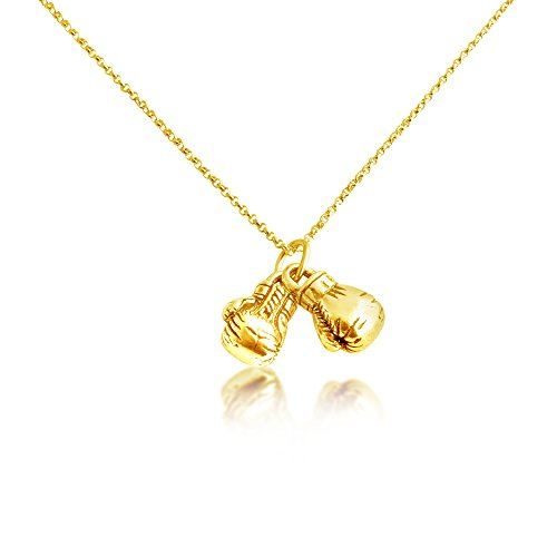 Azaggi Gold Plated Sterling Silver Handcrafted Boxing Gloves Necklace (20) (Gloves Boxing Sterling)