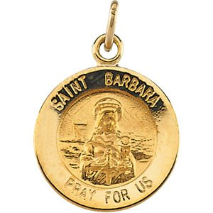 Barbara Pend Medal W// 18 Inch Chain 18.25 Sterling Silver Rd St