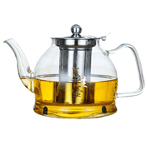 40.5 Ounce Coffee Pot - Hwagui - Large Clear Glass Teapot with Removable Tea Infuser for Blooming and Loose Leaf Tea, Microwavable and Stovetop Safe Tea Pot and Tea Strainer, 1200ml/40.5oz