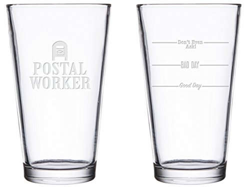 Glassware Carriers - BadBananas Postal Worker - Good Day, Bad Day, Don't Even Ask 16 oz Engraved Pint Beer Glass with Etched Coaster - Mailman Mail Carrier Gifts