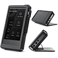 For iBasso DX200 , Hand Crafted MITER Leather Case Cover Black Color [Patented Stand Case] [Free Gift Screen Protector Include] iBasso DX-200 Case