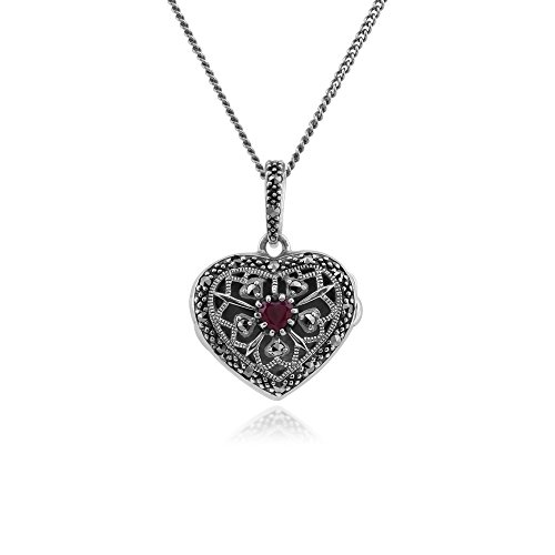 925 Sterling Silver Ruby & Marcasite Heart Locket Necklace (Marcasite Heart)