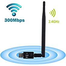 USB WiFi Adapter, LOTEKOO 300Mbps Wireless Network Card Adapter Wifi Dongle with 5dBi Antenna for Desktop Laptop PC Windows 10 8 7 MAC OS