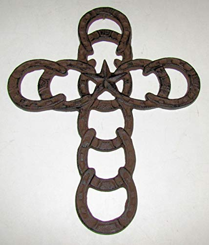 dist by classyjacs ABC Products - Heavy Cast Iron - Horseshoe Cross - Lone Star in The Middle - Old Country Design - Indoor or Outdoor Use - (Vintage Rustic Dark Bronze Color - Wall Hanging)