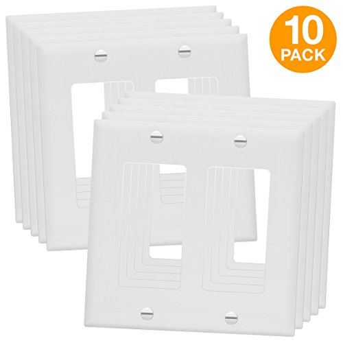 Plates 2 Wall (ENERLITES 8832-W 8832-WTP Decorator Light Switch or Receptacle Outlet Wall Plate, Size 2-Gang 4.50