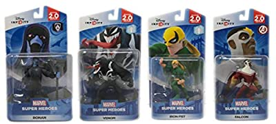 Disney Infinity 2.0 : Venom, Ronan, Iron Fist & Falcon Figures (2.0 Series) From Spider-Man/Avengers/Guardians Series - Not Machine Specific