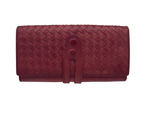 Wallets for Women Knitting Leather Clutch Purse Dip Dye Card Holder (831,Red)