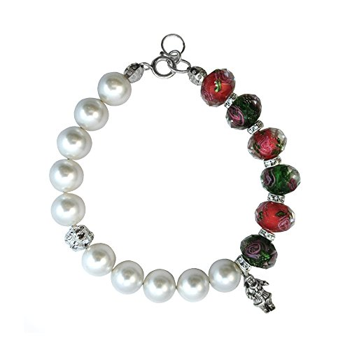 Christmas Colored Faceted Lampwork Glass Bracelet Made with Swarovski Crystal Elements 7,8,9