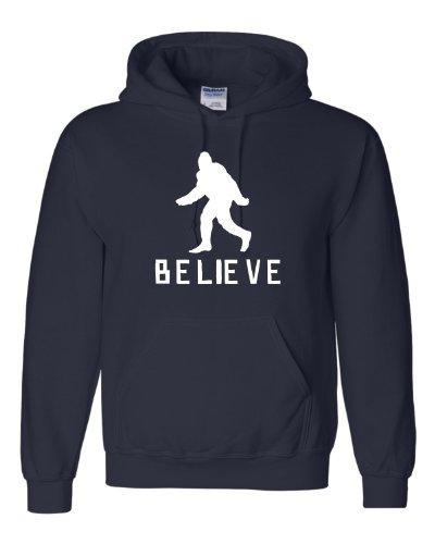 Go All Out Screenprinting Large Navy Blue Adult Bigfoot Believe Sasquatch Squatch Sweatshirt Hoodie