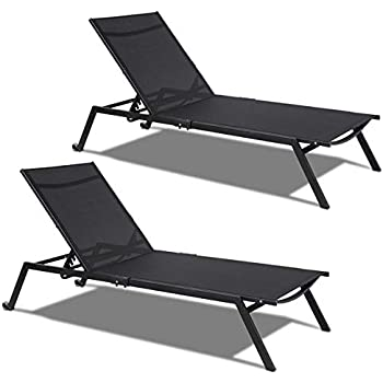 Astounding Tangkula 2 Pcs Adjustable Chaise Lounge Outdoor Home Patio Pool Sling Armless Chaise Armless Lounge Chair Folding Beach Bed Black 2 Caraccident5 Cool Chair Designs And Ideas Caraccident5Info