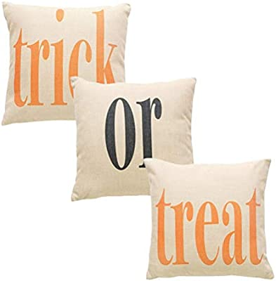 Odowalker Happy Halloween Pillow Covers Trick or Treat Pillow Case Pillowslip Cotton Linen Sofa Home Decorative Throw Cushion Covers 3 Pack