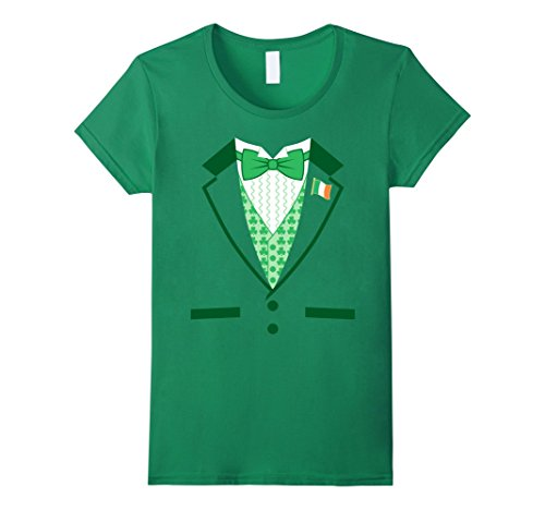 [Women's Irish Costume St. Patrick's Day Tuxedo T-shirt Medium Kelly Green] (Womens Tuxedo Costumes Tshirt)