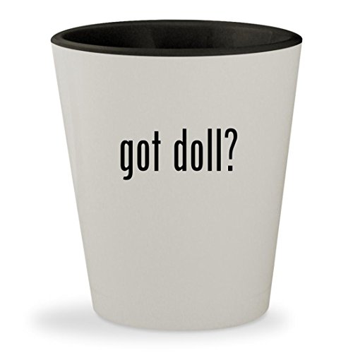 got doll? - White Outer & Black Inner Ceramic 1.5oz Shot Glass - Farrah Fawcett Doll