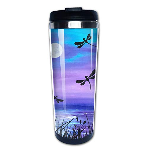 Large Mug Dance (EARTGO Heat-Resistant Vacuum Insulated Stainless Steel Water Bottle Trave Mugs (400ml/13.4oz) with Lid Print Dance of The Dragonflies Painting Coffee Mugs, for Men/Women/Boy/Girl)