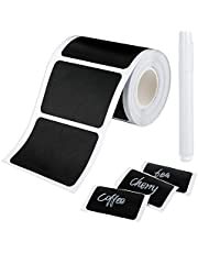 Cerolopy 150Pcs Waterproof Chalkboard Labels, Reusable Blackboard Stickers for Kitchen Organize with 1 White Chalk Pen,Removable Label Sticker on a Roll for Jars, Scrapbooking(Rectangle Shape)