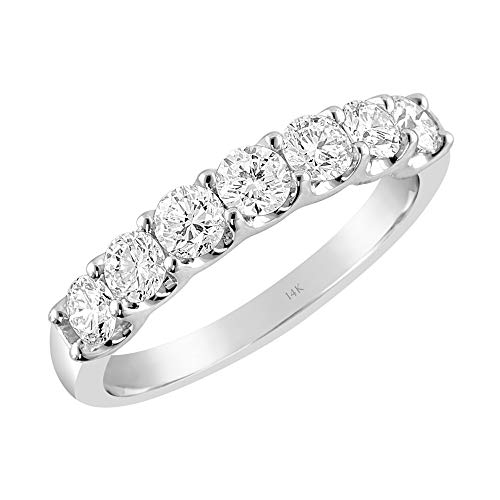 Brilliant Expressions 14K White Gold 1 Cttw Colorless Lab Created Conflict Free Diamond Shared Prong 7-Stone Shared Prong Anniversary Band (E-F Color, VS2-SI1 Clarity), Size 7