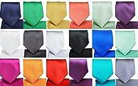 Men's Solid Neck Tie & Matching Pocket Square Handkerchief Set