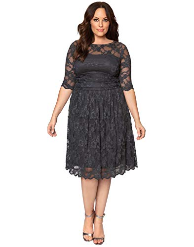 Kiyonna Women's Plus Size Luna Lace Cocktail Dress 0x Twilight Grey