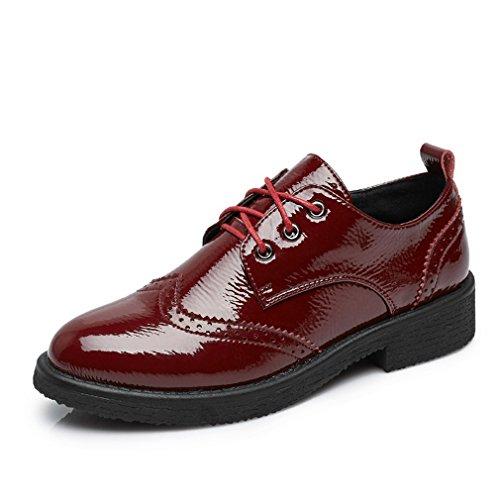 Hoxekle Mode Femmes Noir Perforé Dentelle / Style Britannique / Wingtip Oxford Chaussures / Vintage Chaussures Oxford Rouge