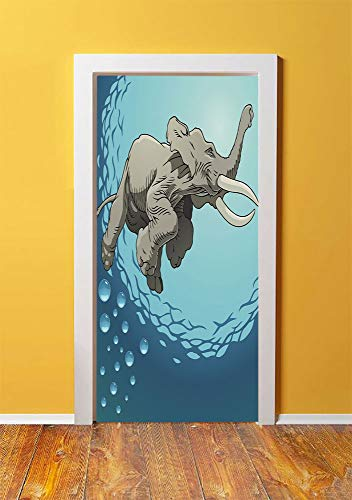 - Animal 3D Door Sticker Wall Decals Mural Wallpaper,Cute Giant Elephant Swimming in Ocean Water Humor Tropical Graphic,DIY Art Home Decor Poster Decoration 30.3x78.11579,Taupe Slate Blue Turquoise