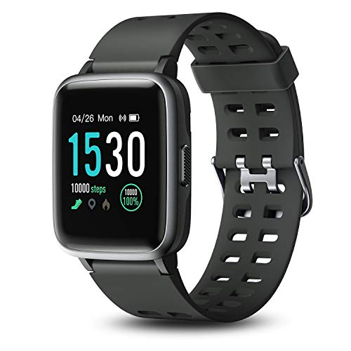 Letsfit Smart Watch, 1.3'' Color Touchscreen Fitness Tracker with Heart Rate Monitor, 5ATM Waterproof 14 Sport Activity Sleep Monitor Message Reminder for Men Women Kids