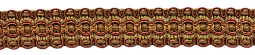 "DÉCOPRO Lavish 1"" Wide Copper, Brown, Oak Brown Gimp Braid Trim|Style# 0100VG|Color: Rustic - VNT9|Sold by The Yard"
