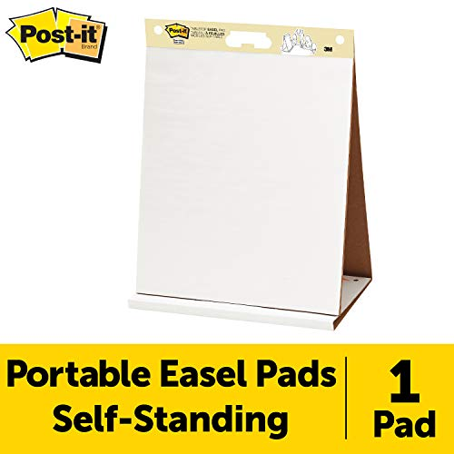 (Post-it Super Sticky Tabletop Easel Pad, 20 x 23 Inches, 20 Sheets/Pad, 1 Pad (563R), Portable White Premium Self Stick Flip Chart Paper, Built-in Easel Stand)