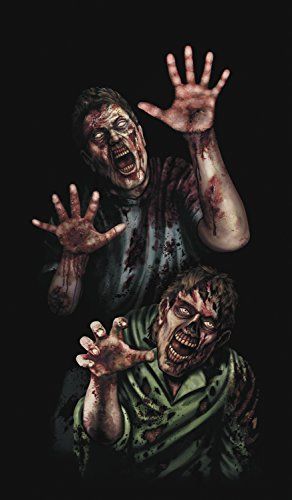 WOWindow Posters Zombie Breakout Two Male Zombies Halloween Window Decoration, Includes 34.5