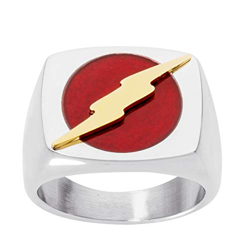 DC Comics Mens Stainless Steel Justice League Superhero Logo Ring Jewelry, The Flash, Size 10 for $<!--$29.99-->