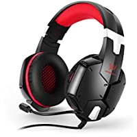 LESHP G1200 Gaming Headset 3.5mm Game Stereo Headphone Earphone Headband with Mic Stereo Bass for PS4 PC Computer Laptop Mobile Phones (Black and Red)