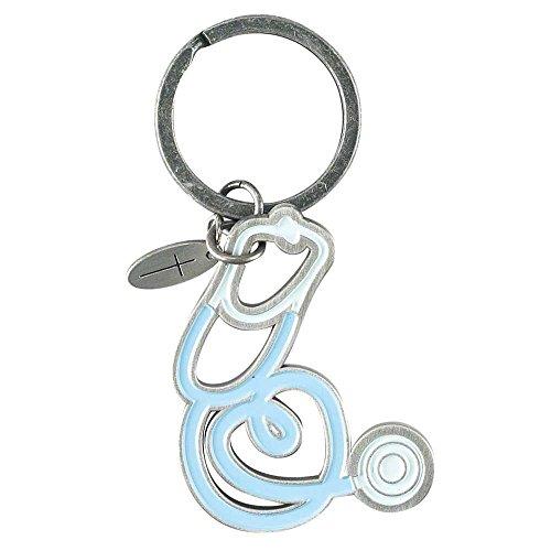 Pewter Charms Shaped - Nurse Heart Shaped Stethoscope Cross Charm Pewter Christian Key Ring Keychain